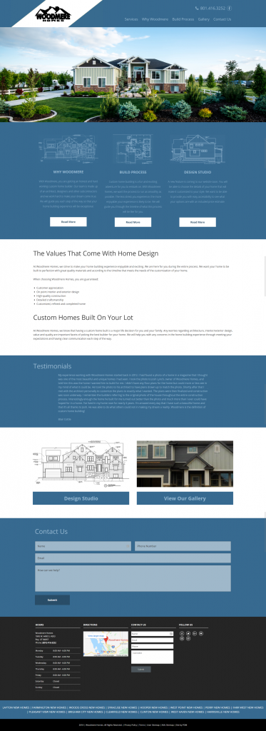 Woodmere Custom Homes - homepage desktop screenshot