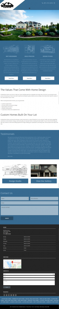Woodmere Custom Homes - homepage tablet screenshot