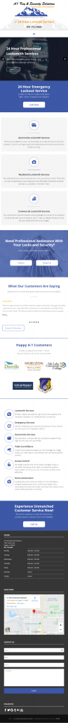 A1 Key & Security Solutions - homepage mobile screenshot