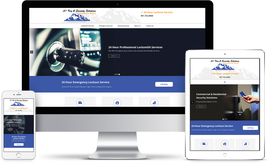 A1 Key & Security Solutions - homepage responsive mockup