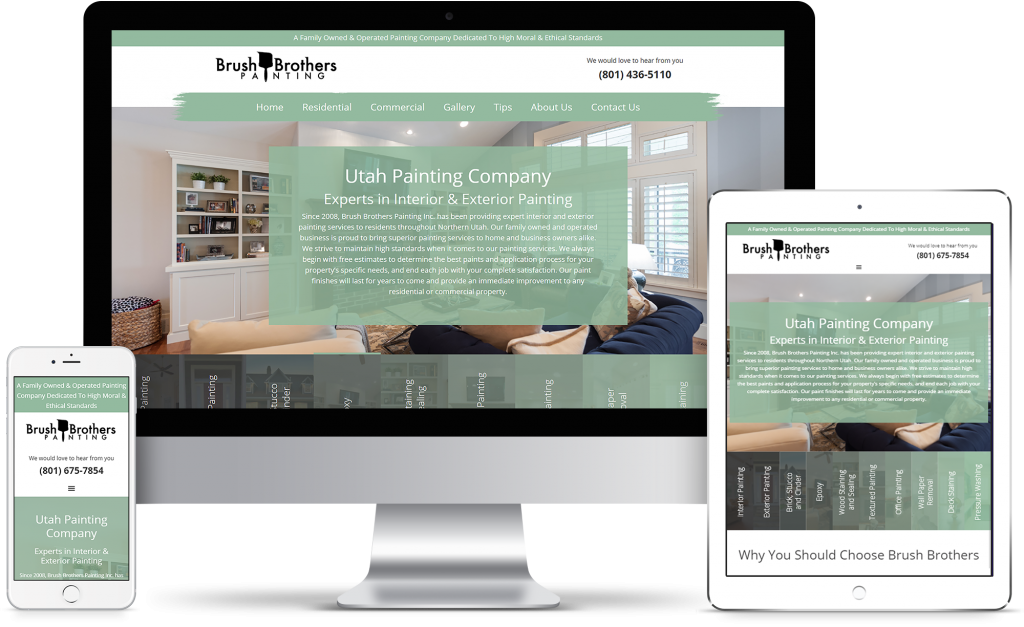 Brush Brothers Painting - homepage responsive mockup