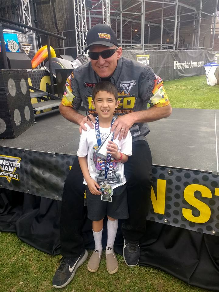 Evan with Tom Meents after getting the spike from the Max-D truck signed Las Vegas March 2018