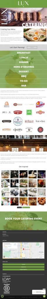 LUX Catering & Events - Catering Subpage Template - tablet screenshot
