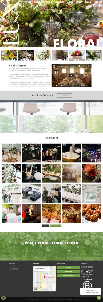 LUX Catering & Events - Floral Subpage Template - desktop screenshot