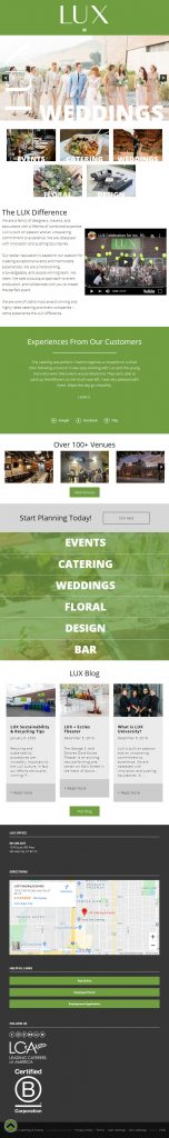 LUX Catering & Events - homepage mobile screenshot without Podium chat