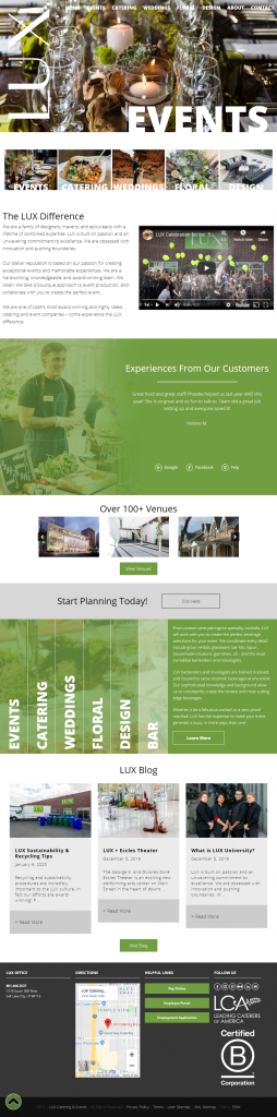 LUX Catering & Events - homepage tablet screenshot