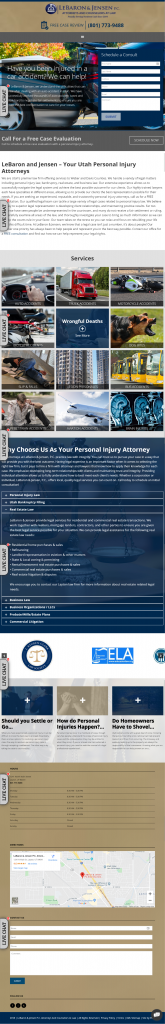 LeBaron & Jensen Personal Injury - homepage tablet screenshot