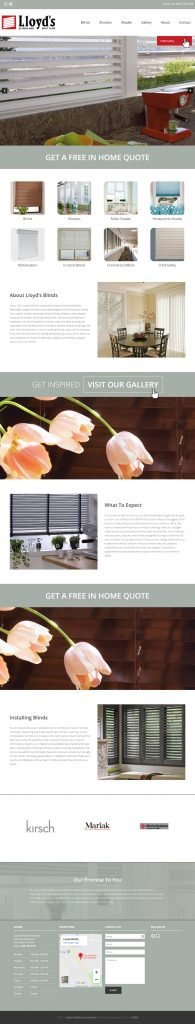Lloyd's Blinds and Shutters - homepage tablet screenshot with hover