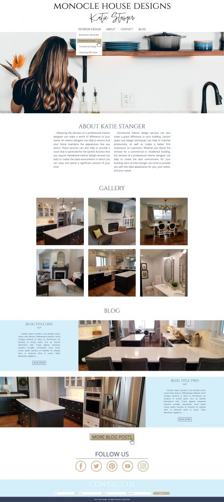 Monocle House Designs - Katie Stanger - homepage desktop screenshot with hover