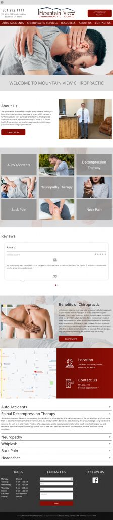 Mountain View Chiropractic Clinic - homepage tablet screenshot