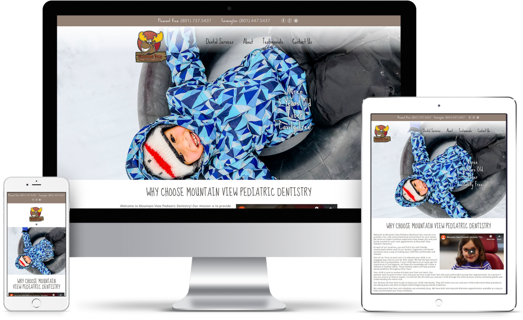 Mountain View Pediatric Dentistry - The Moose Dentist - homepage responsive mockup