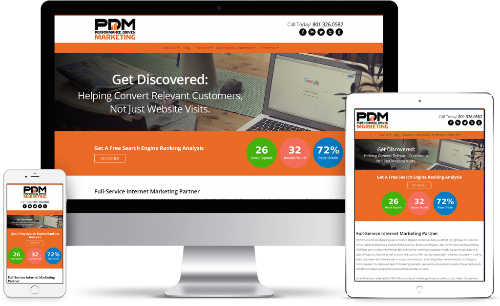 Performance Driven Marketing - homepage responsive mockup