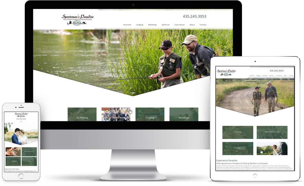Sportsman's Paradise - Whites Ranch - homepage responsive mockup