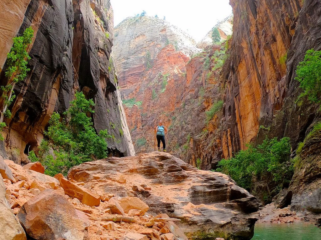 Bonnie hiking The Narrows in Zion National Park August 2019