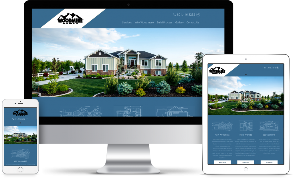 Woodmere Custom Homes - homepage responsive mockup