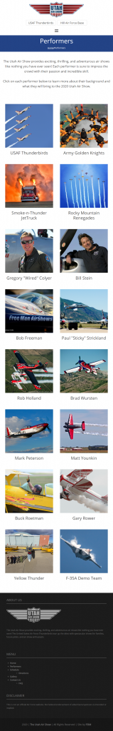 The Utah Air Show - after redesign Performers page mobile