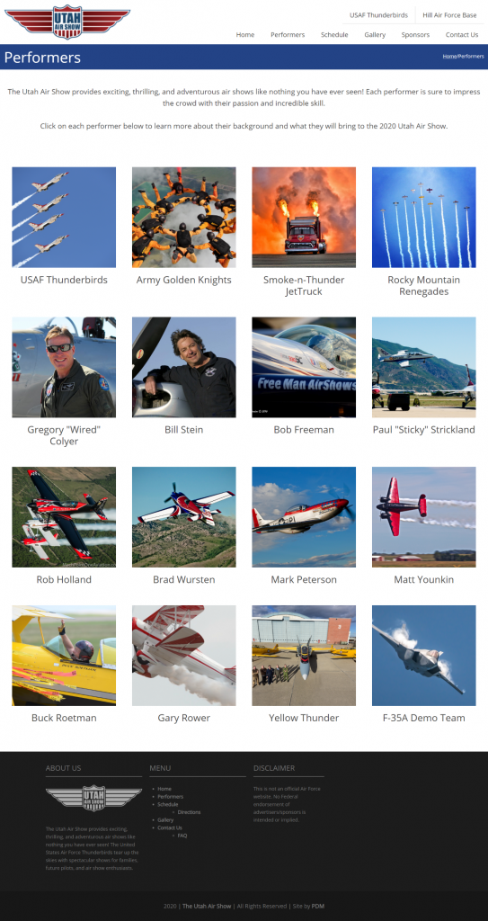 The Utah Air Show - after redesign Performers page tablet