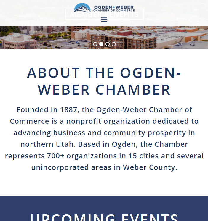 Ogden Weber Chamber of Commerce - homepage mobile width fixed menu after 450px of scrolling