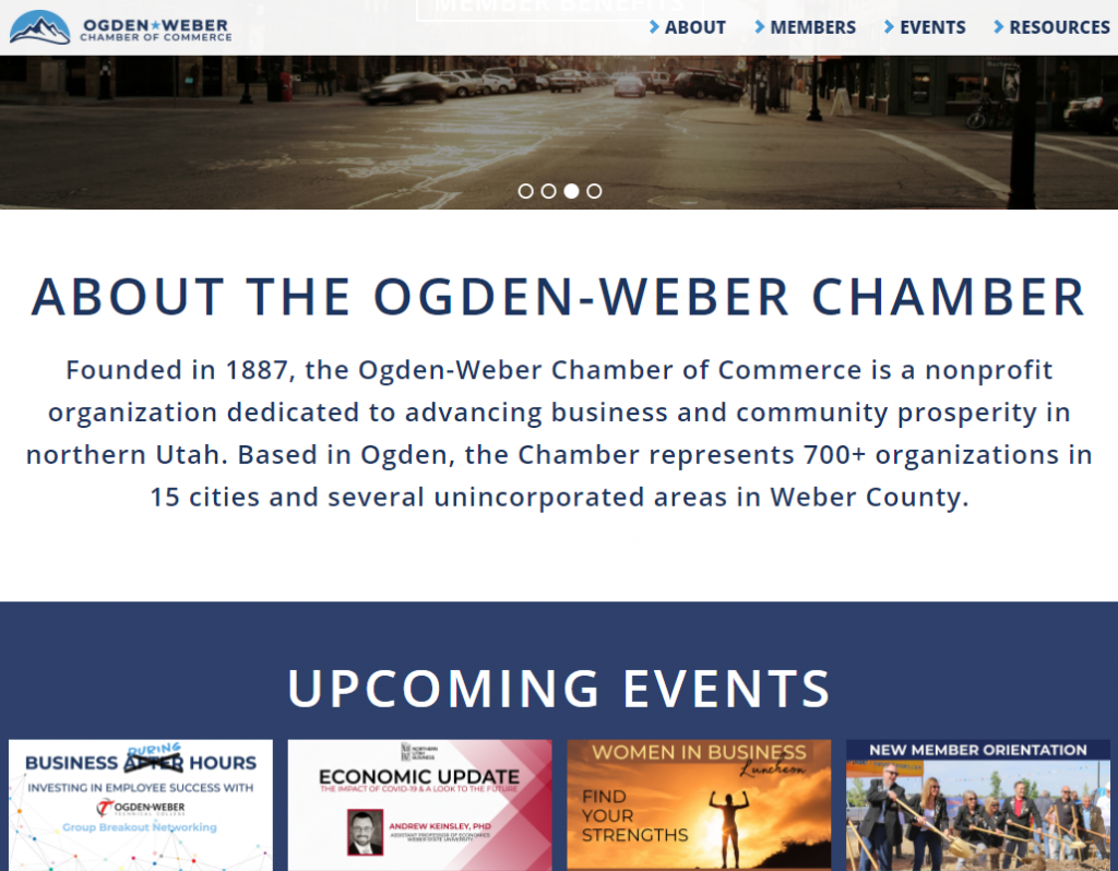 Ogden Weber Chamber of Commerce - homepage tablet width fixed menu after 450px of scrolling